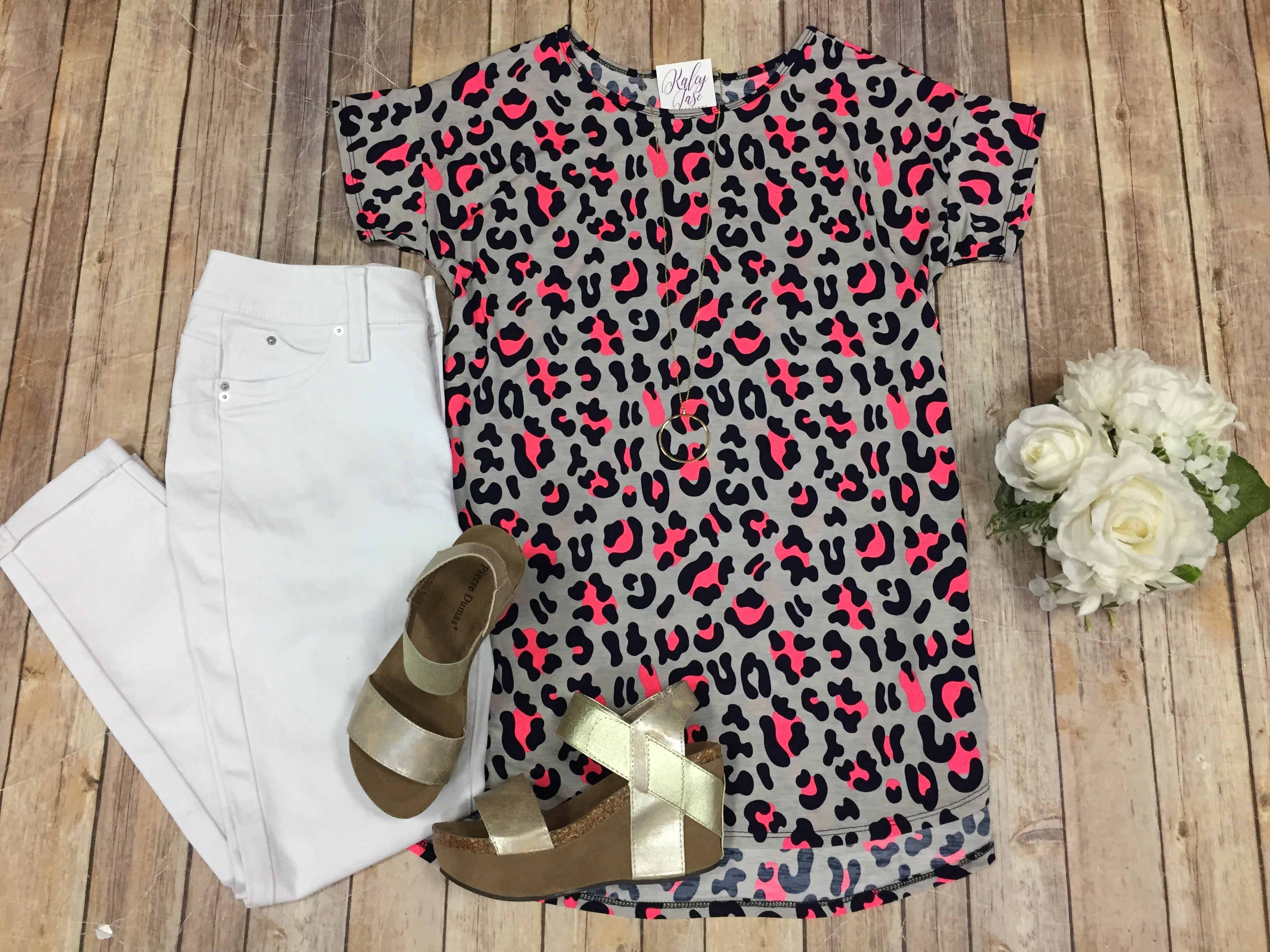 HM Gray Navy Neon Leopard Top