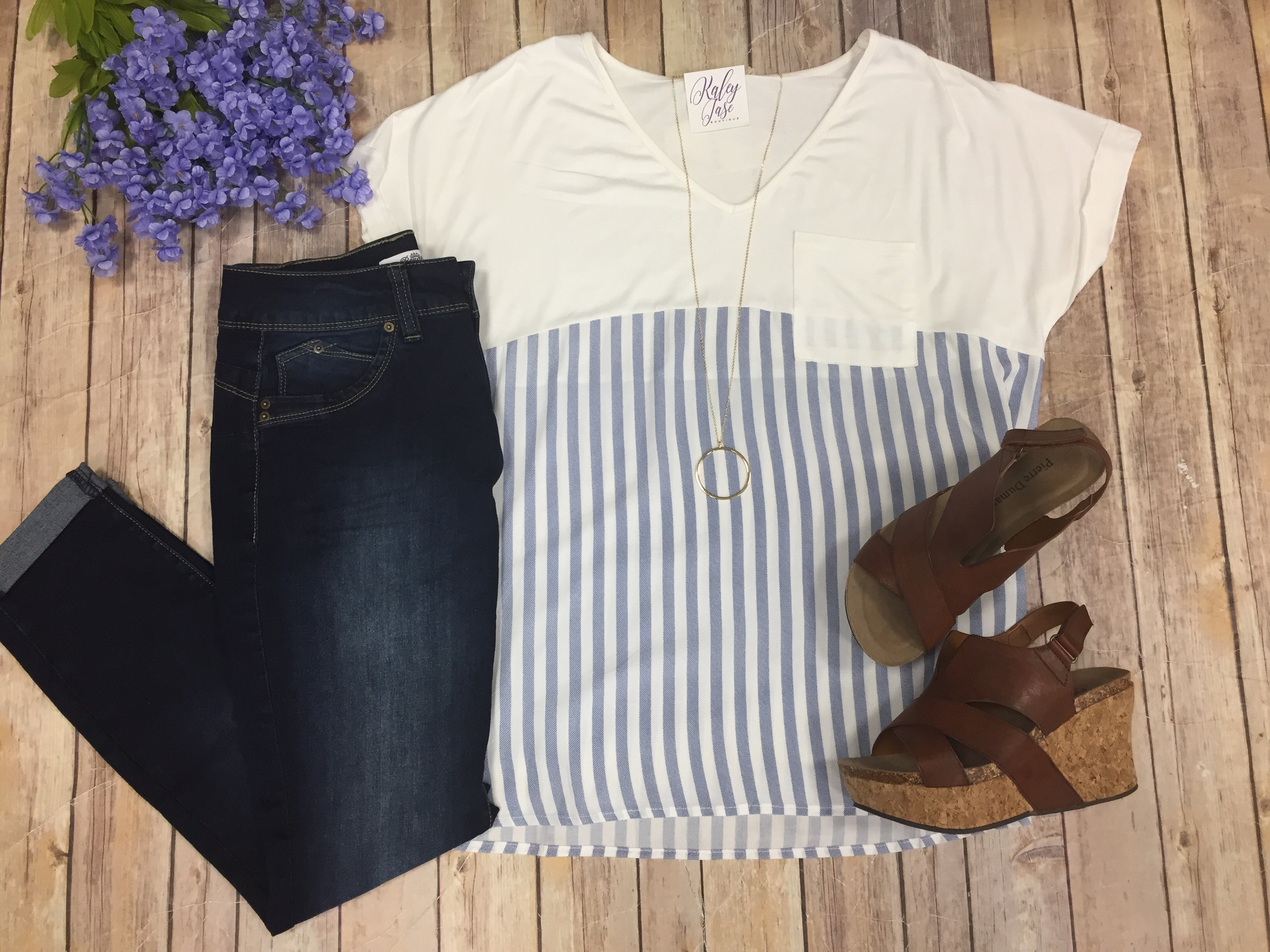 Chambray Stripe Pocket Tee