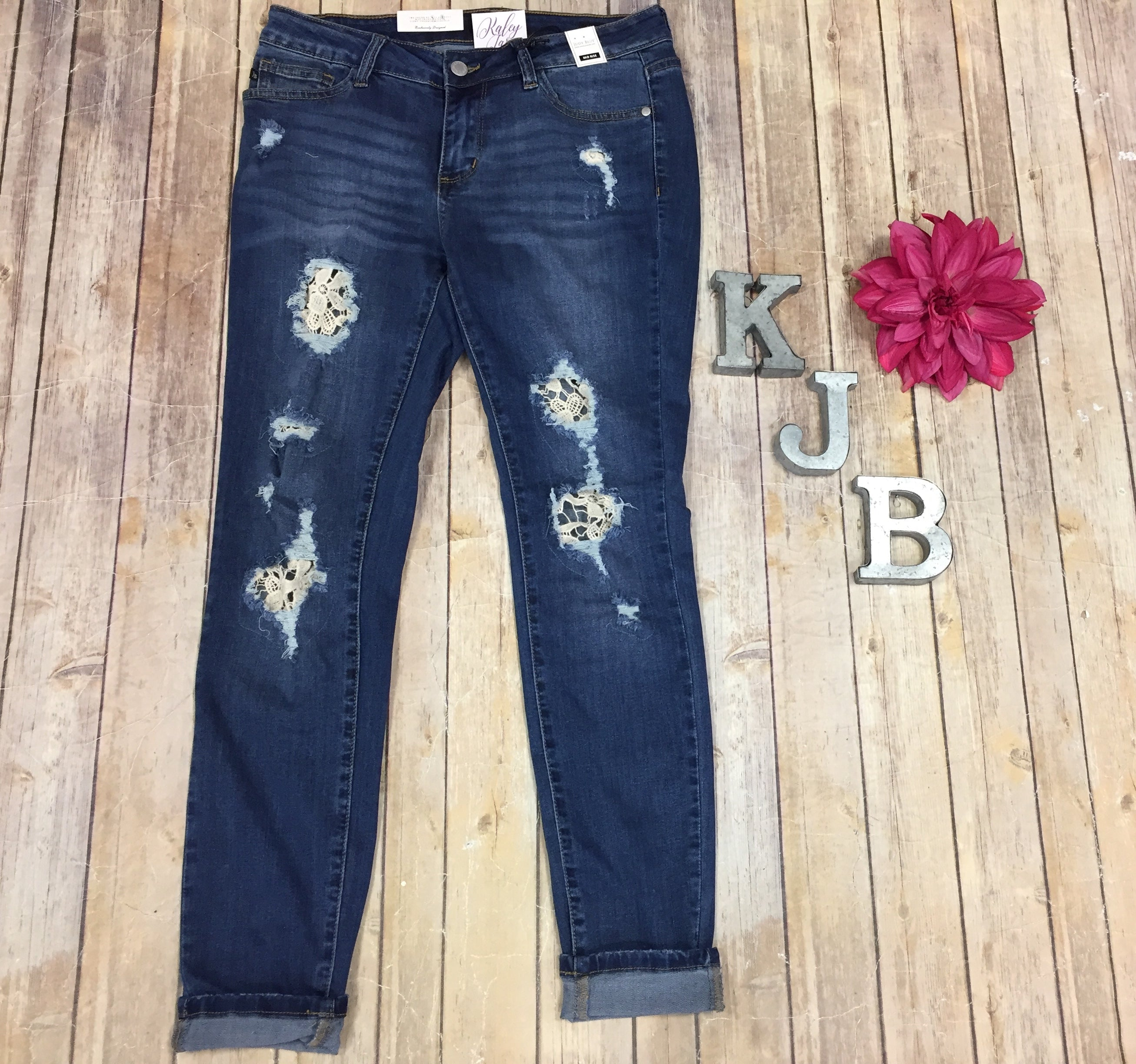Judy Blue Lace Patched Jeans