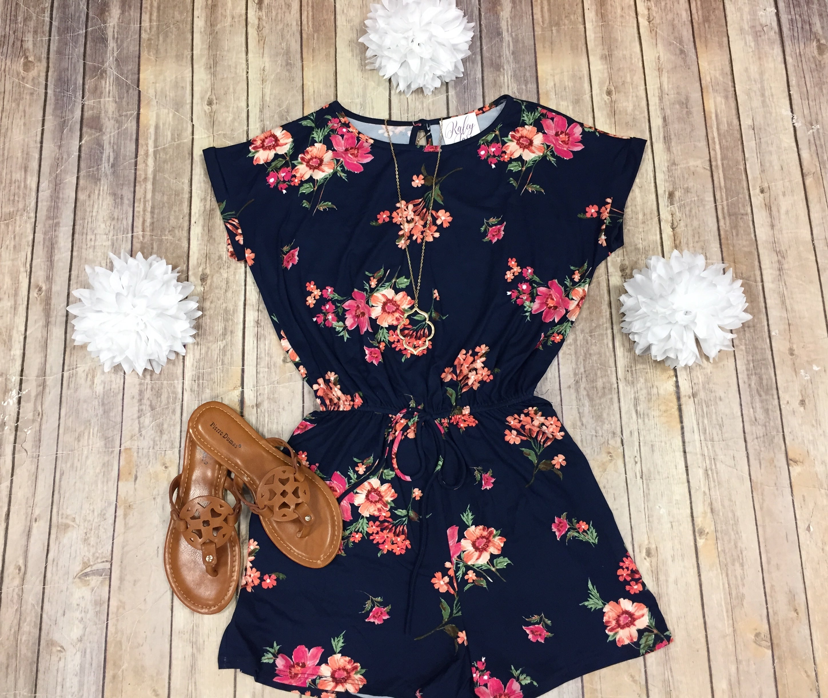 Navy Floral Short Sleeve Romper
