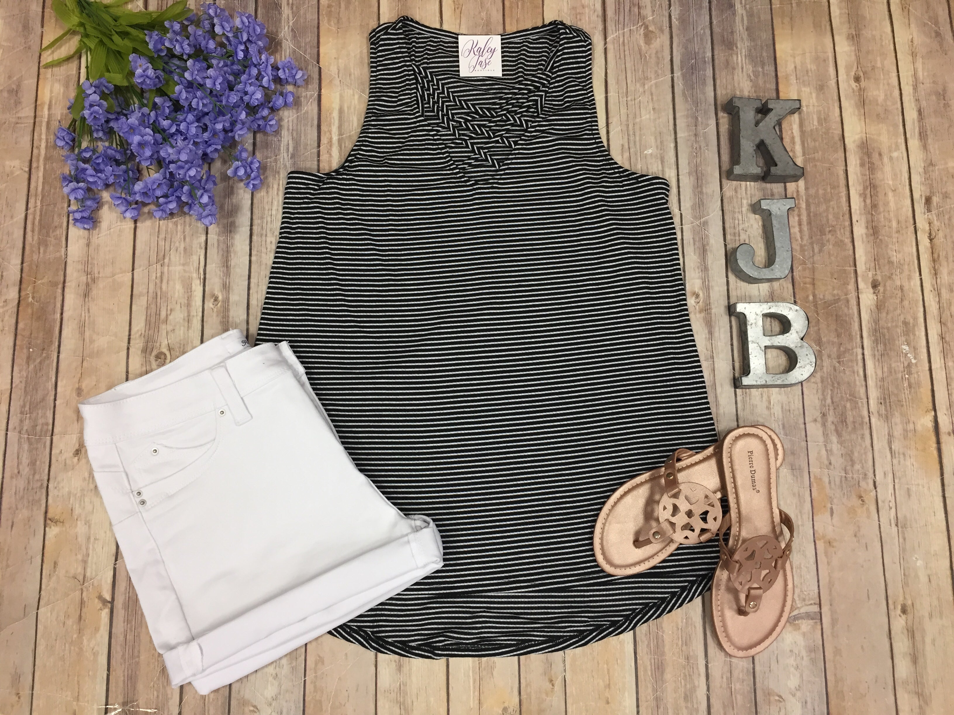 Black White Stripe Criss Cross Tank