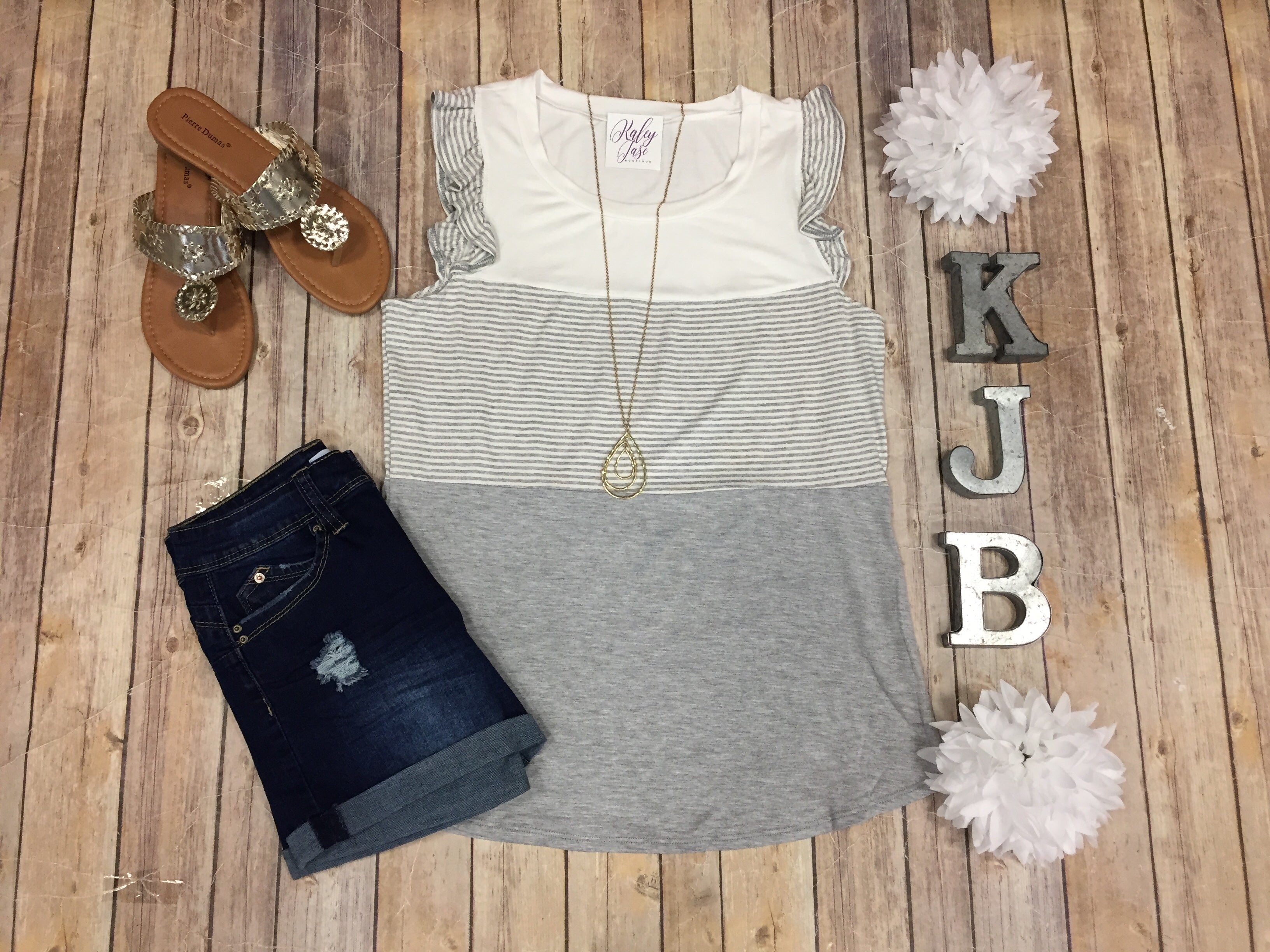 Heather Grey Stripe Ruffle Tank Top