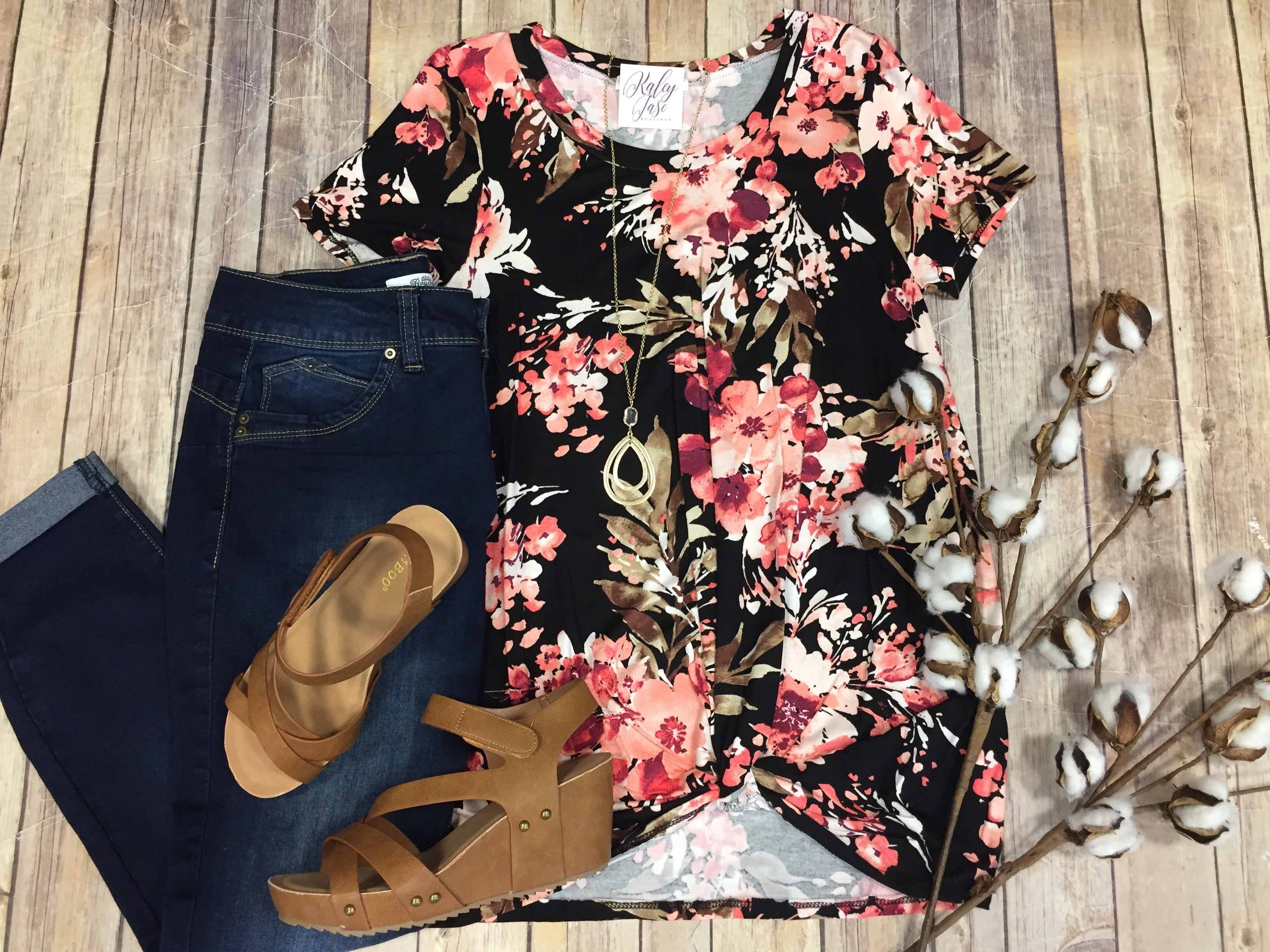 Black Blush Floral Twist Top