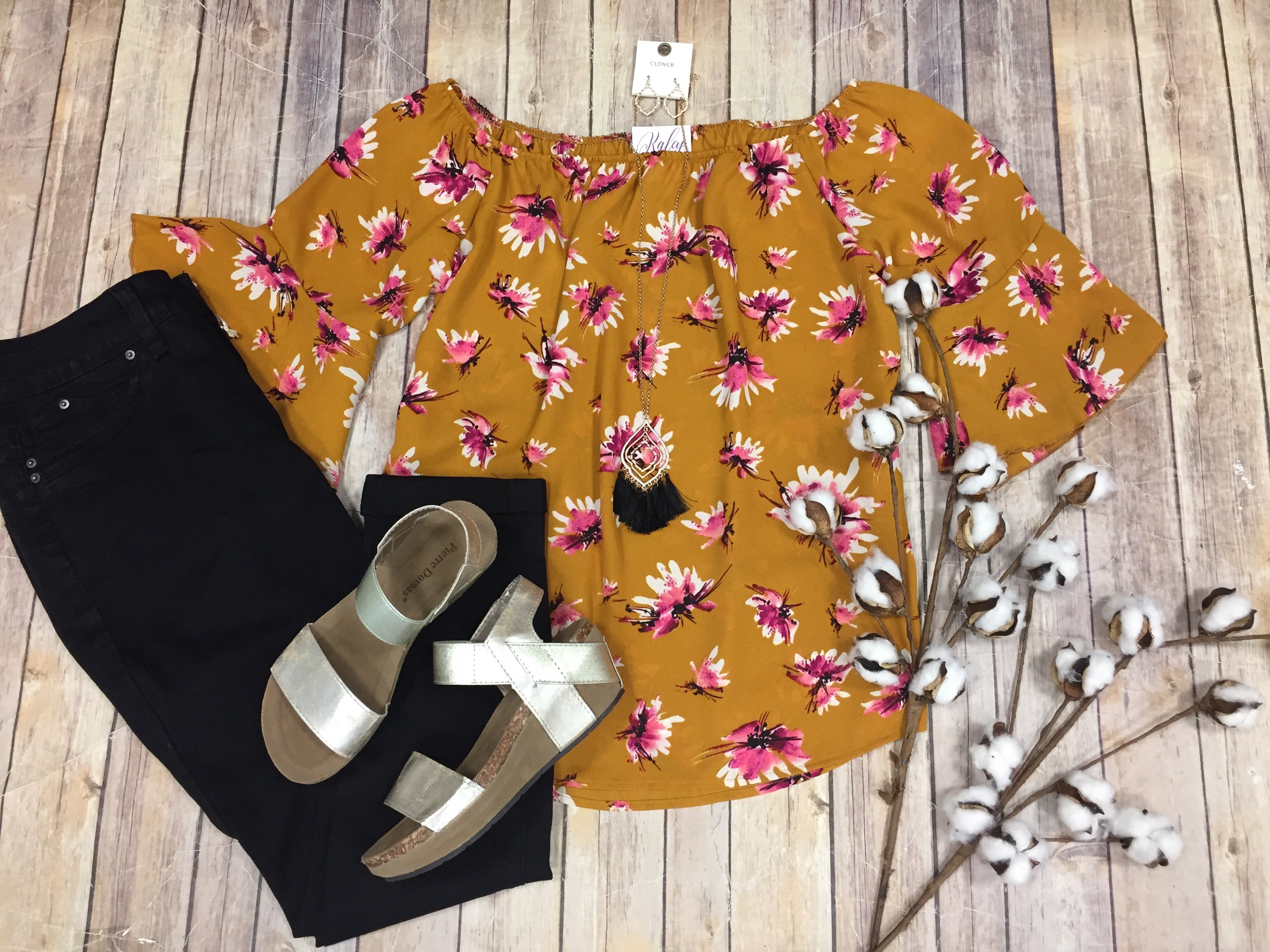 Mustard Floral Off Shoulder Top