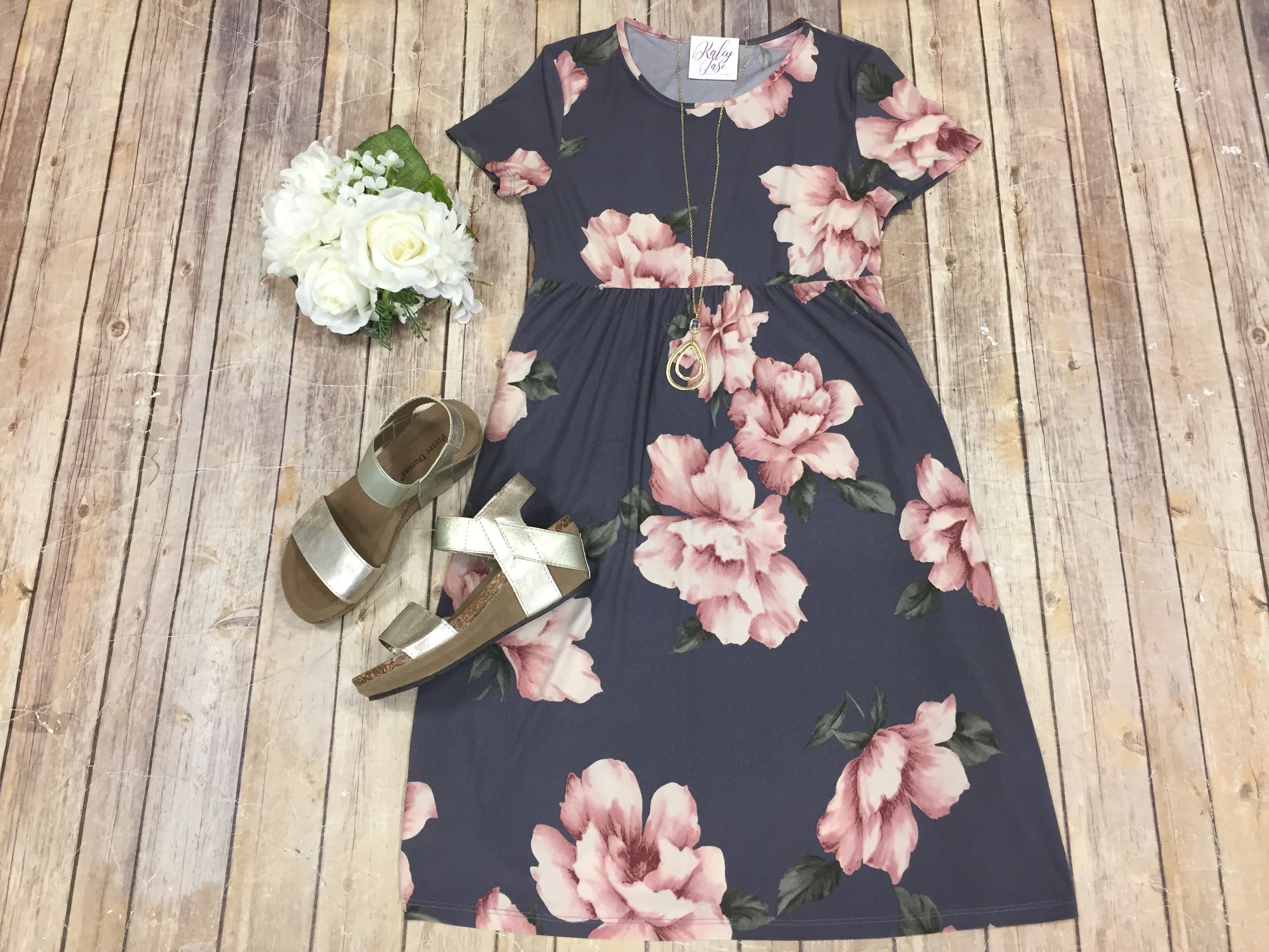 Charcoal Floral Short Sleeve Dress