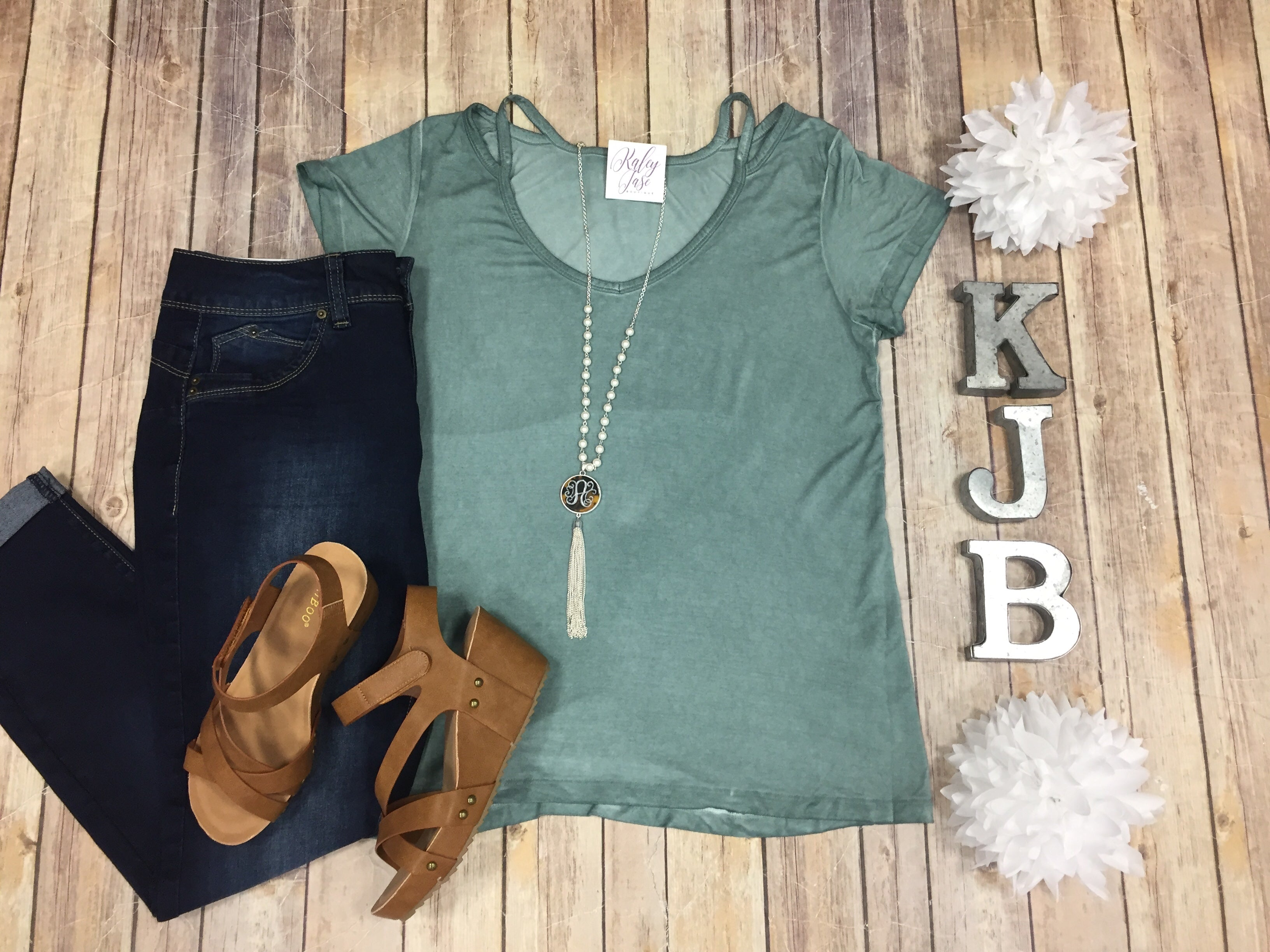 Mineral Washed Teal Cutout Tee