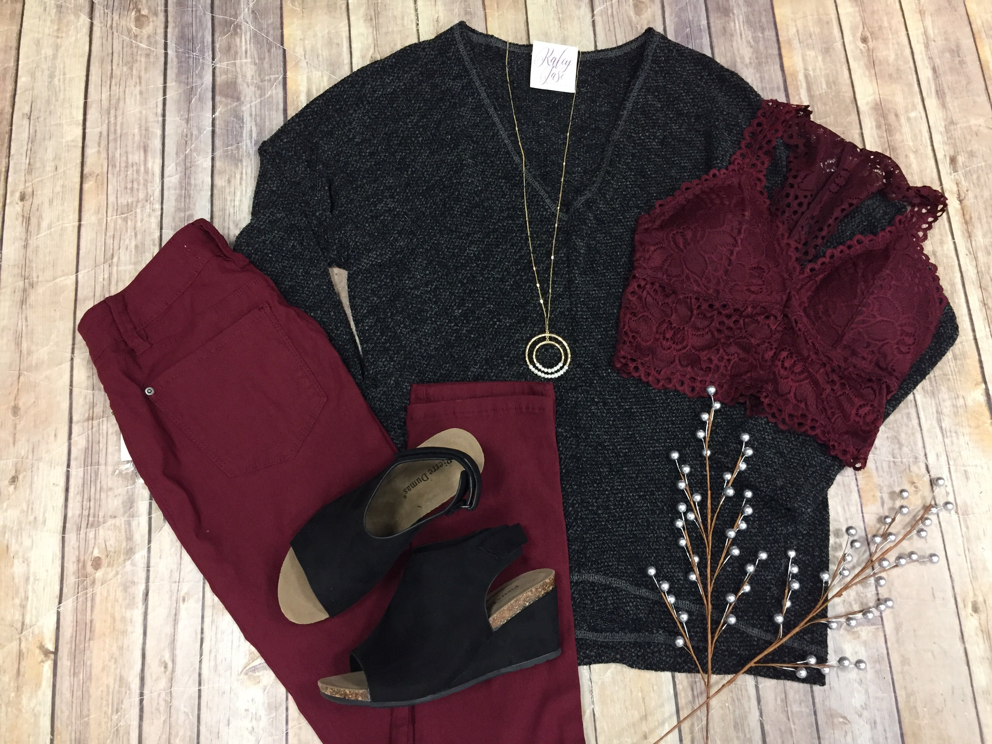 Charcoal & Black Soft Knit Sweater