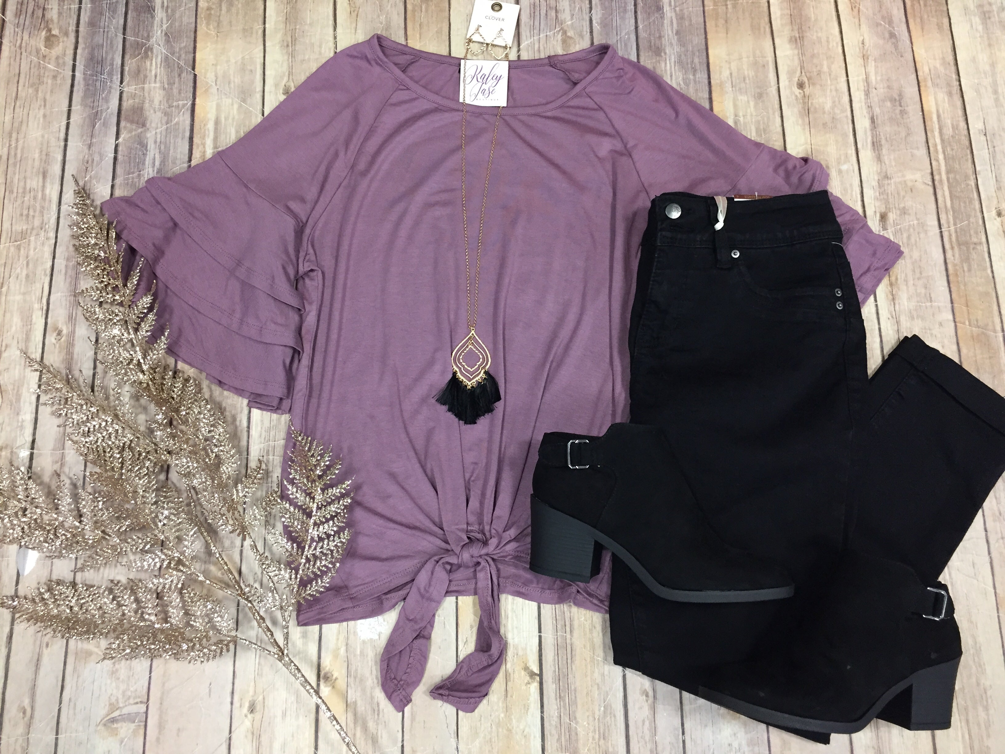 Lilac Ruffle Sleeve Solid Tie Top