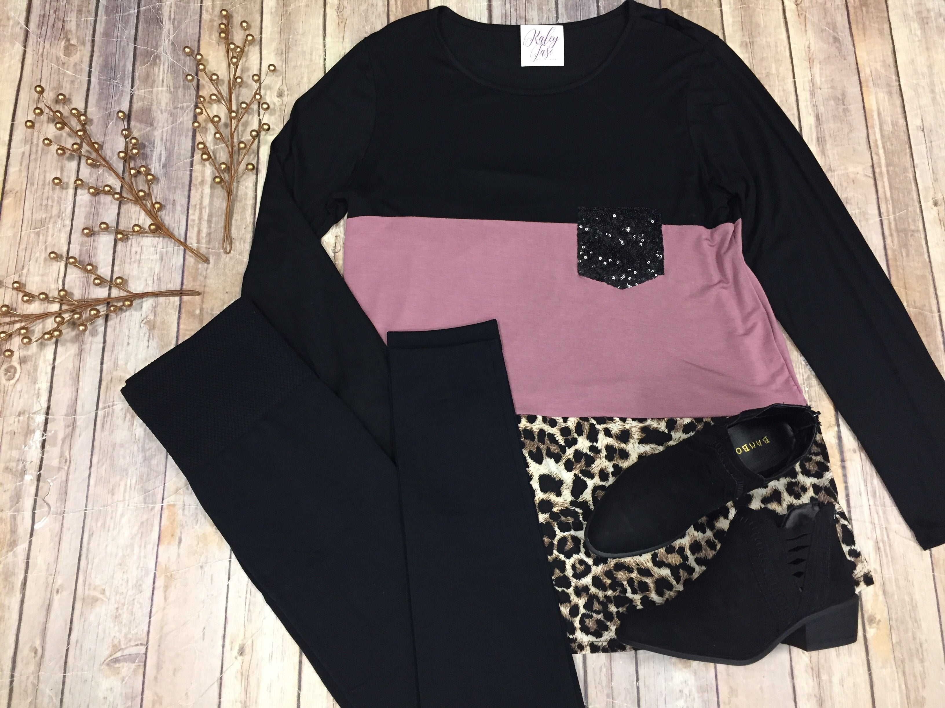 Mauve Leopard Colorblock Sequin Pocket Top