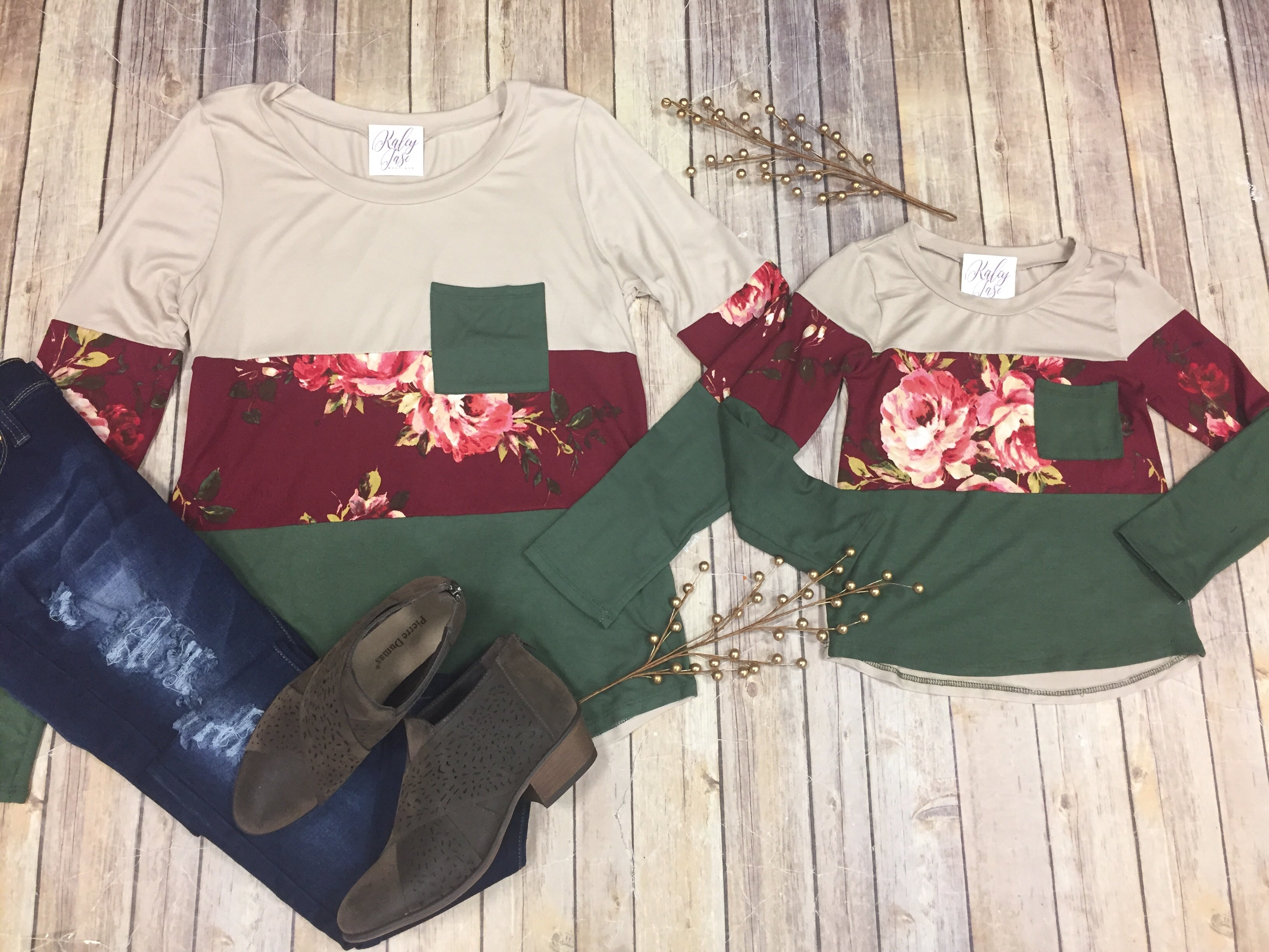 Olive Floral Pocket Top - Mommy & Me