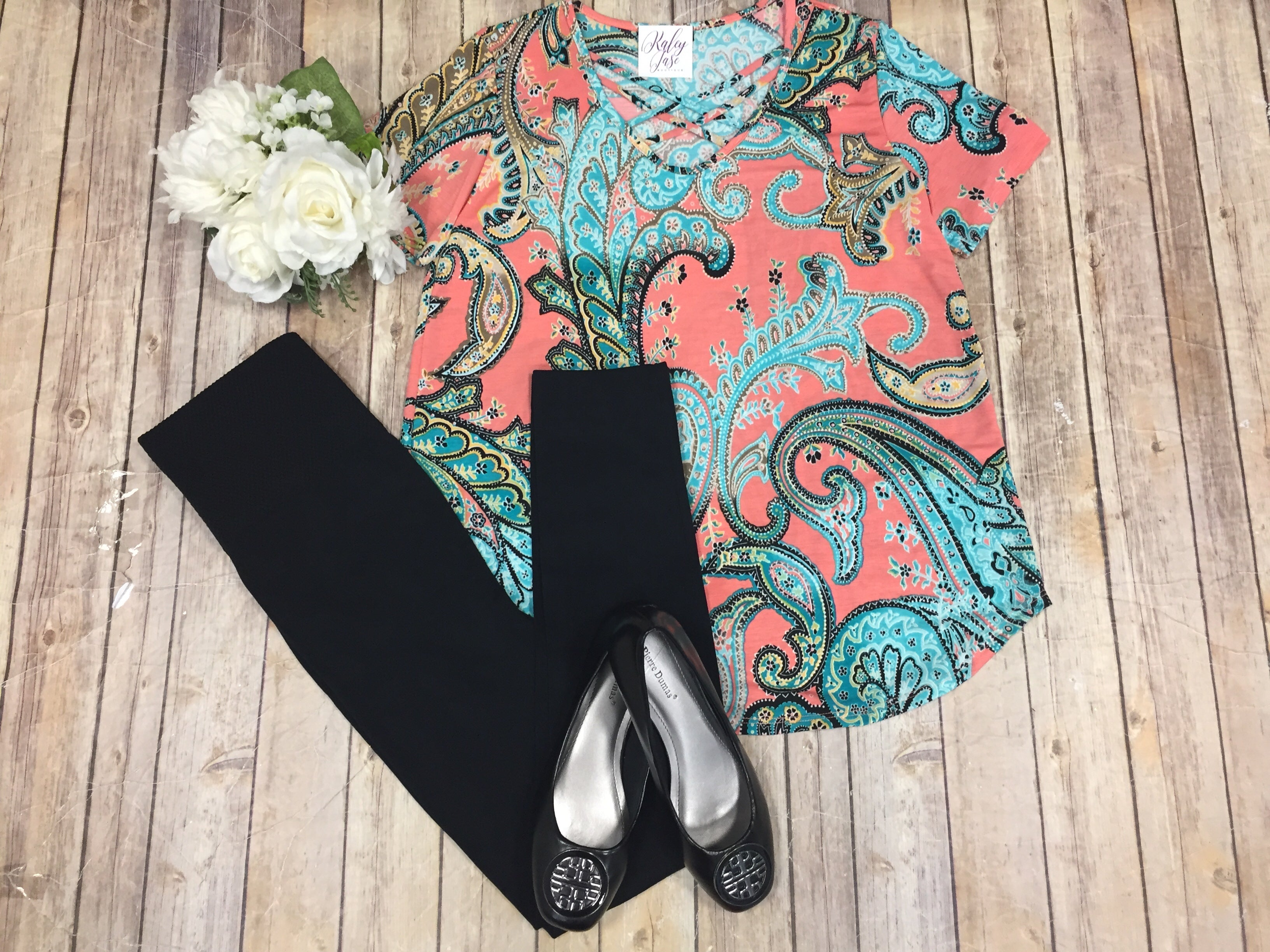 Coral & Mint Paisley S/S Top