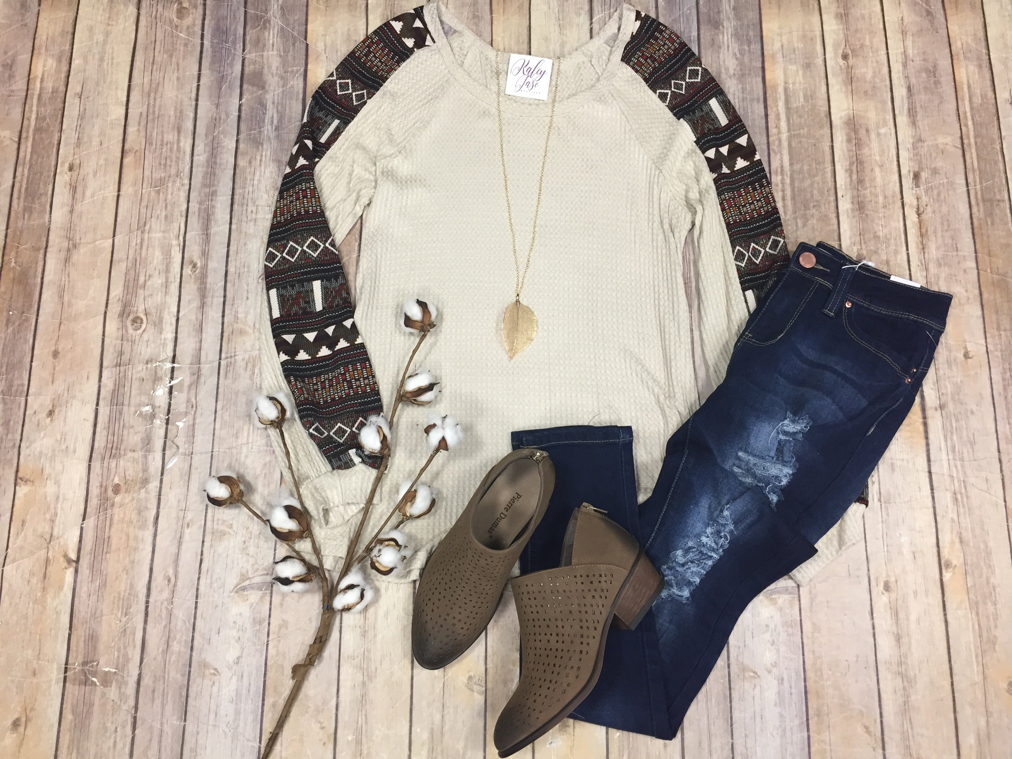 Taupe Aztec Sleeve Top