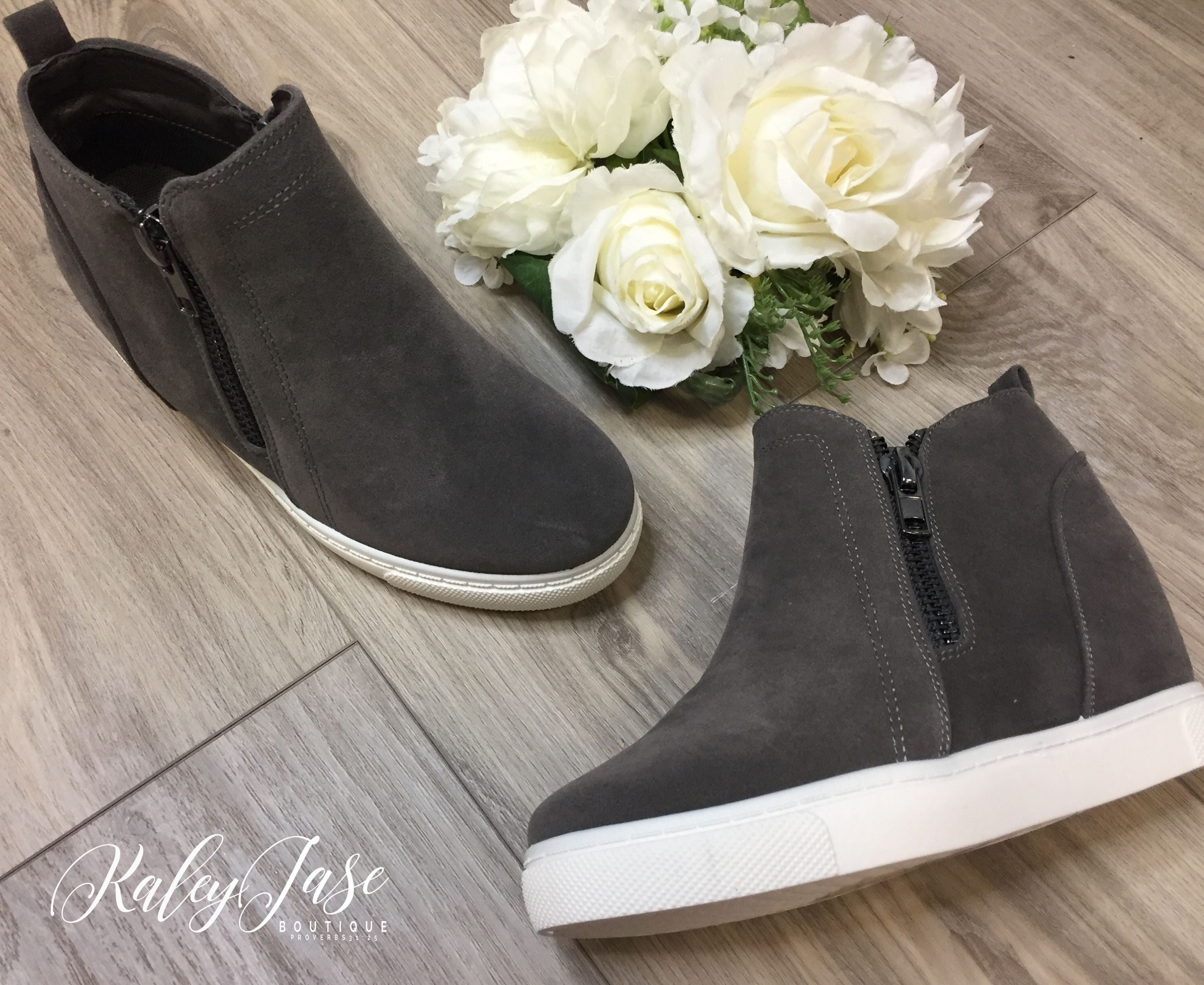 Grey Hidden Wedge Sneakers