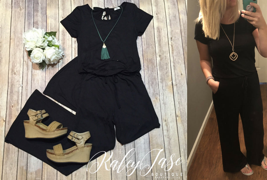 Black Loose Short sleeve Jumpsuit