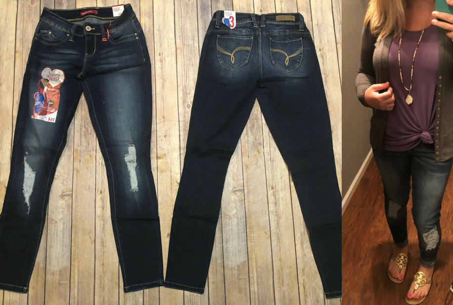 WBB Dark Wash Ripped Jeans