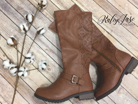 Brown Scallop Detail Back Buckle Boots
