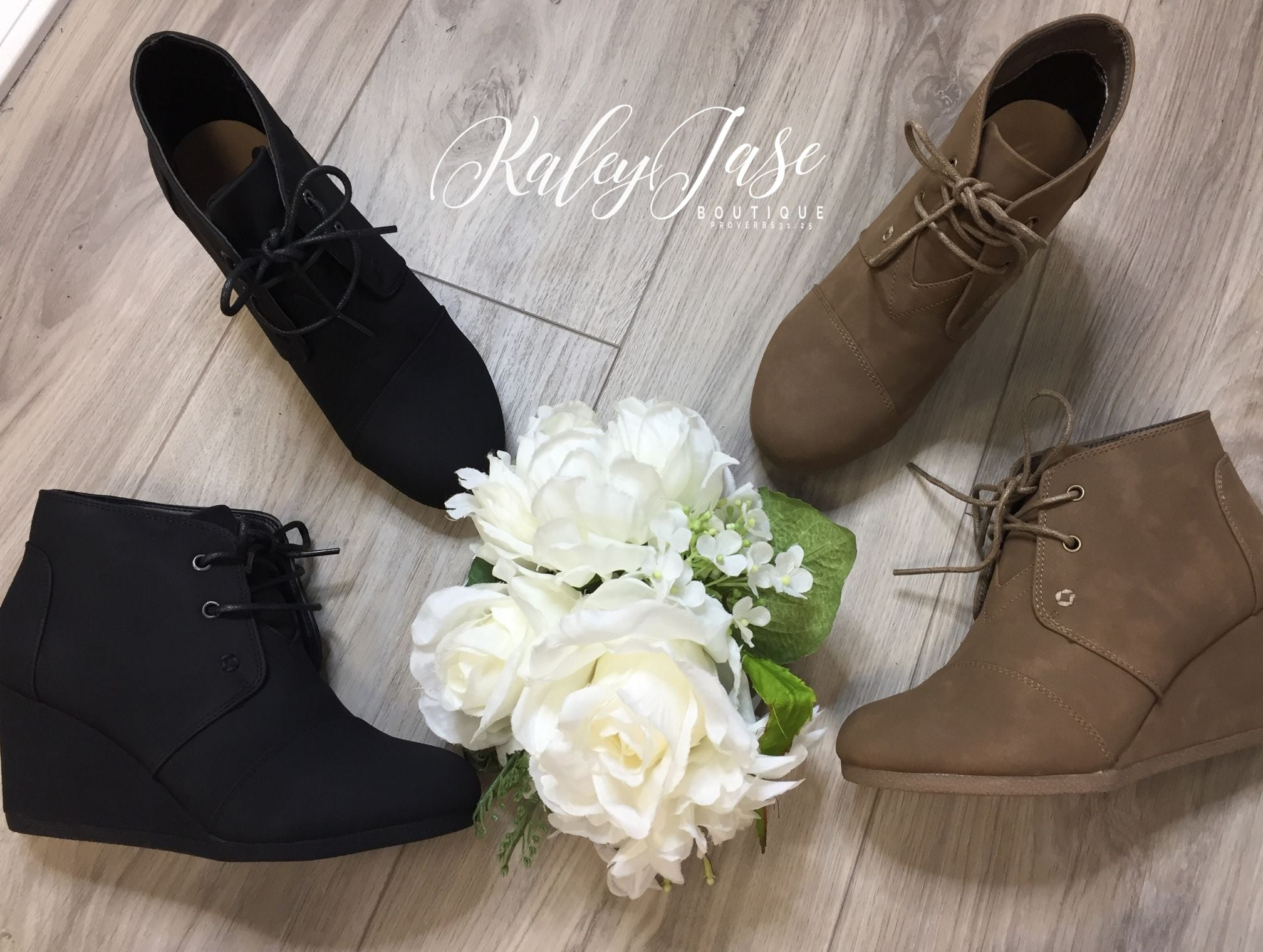 Tie Up Wedge Booties