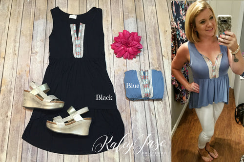 Aztec Embroidered Babydoll Top