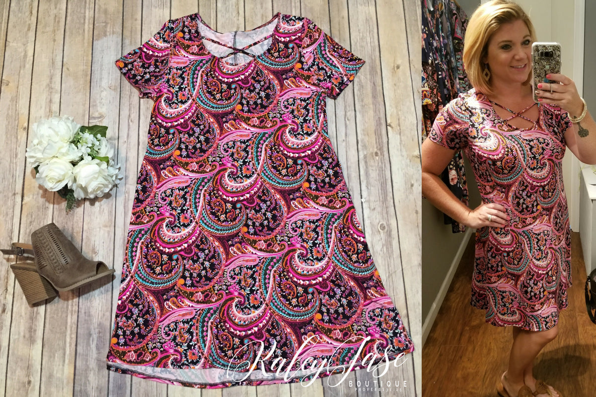 Black & Pink Paisley Criss Cross Dress