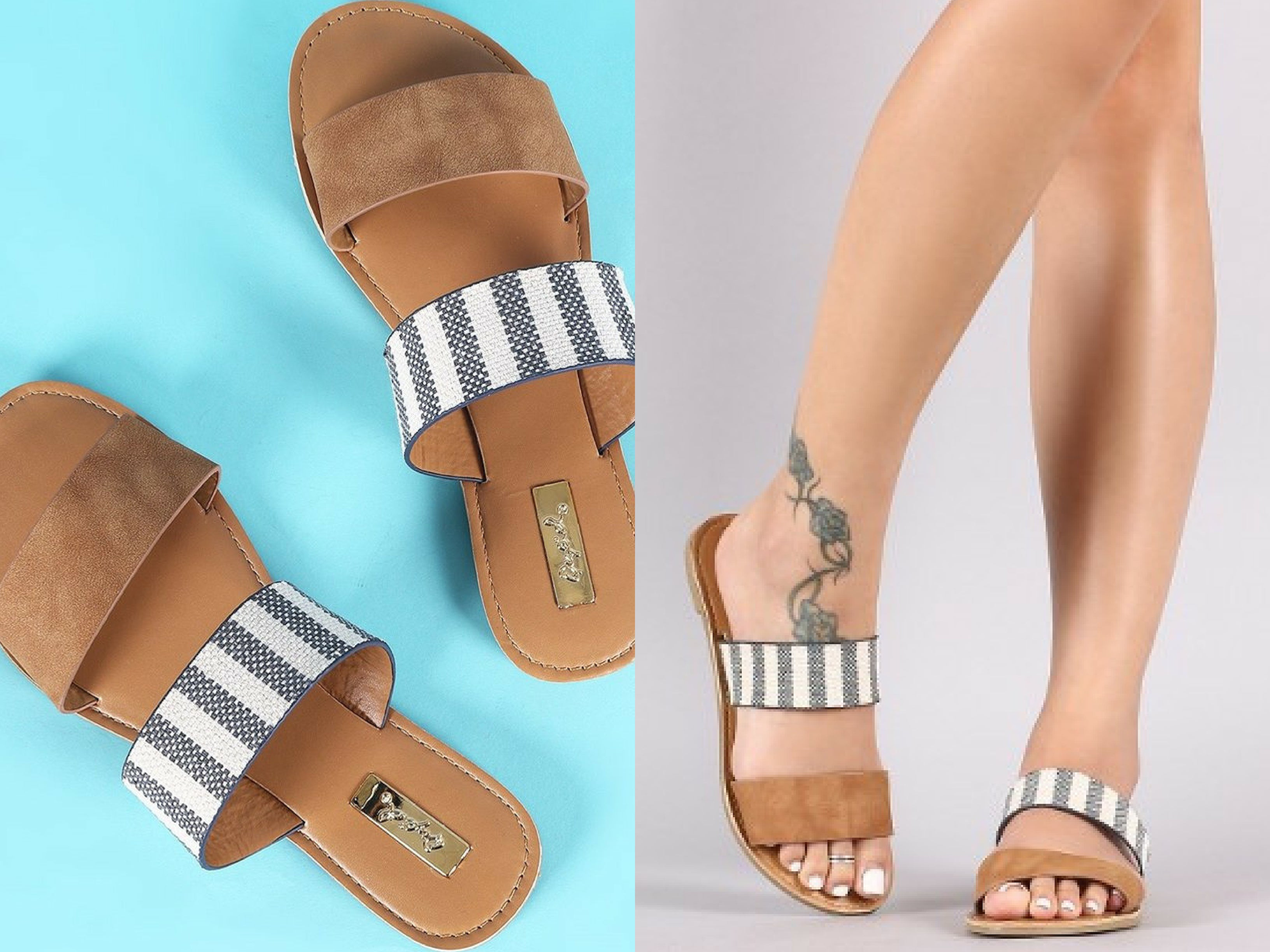Chambray Stripe Slide Sandals