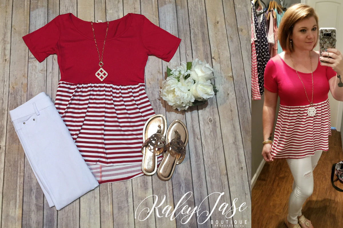 Red Stripe Babydoll Top