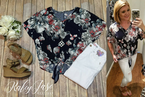 Navy & Grey Floral Tie Top
