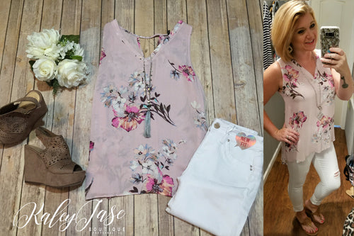 Blush Floral Tank w/ Detail Back