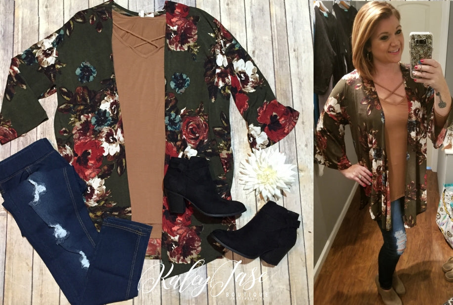 Olive Fall Floral Kimono & 3/4 Sleeve Camel Top
