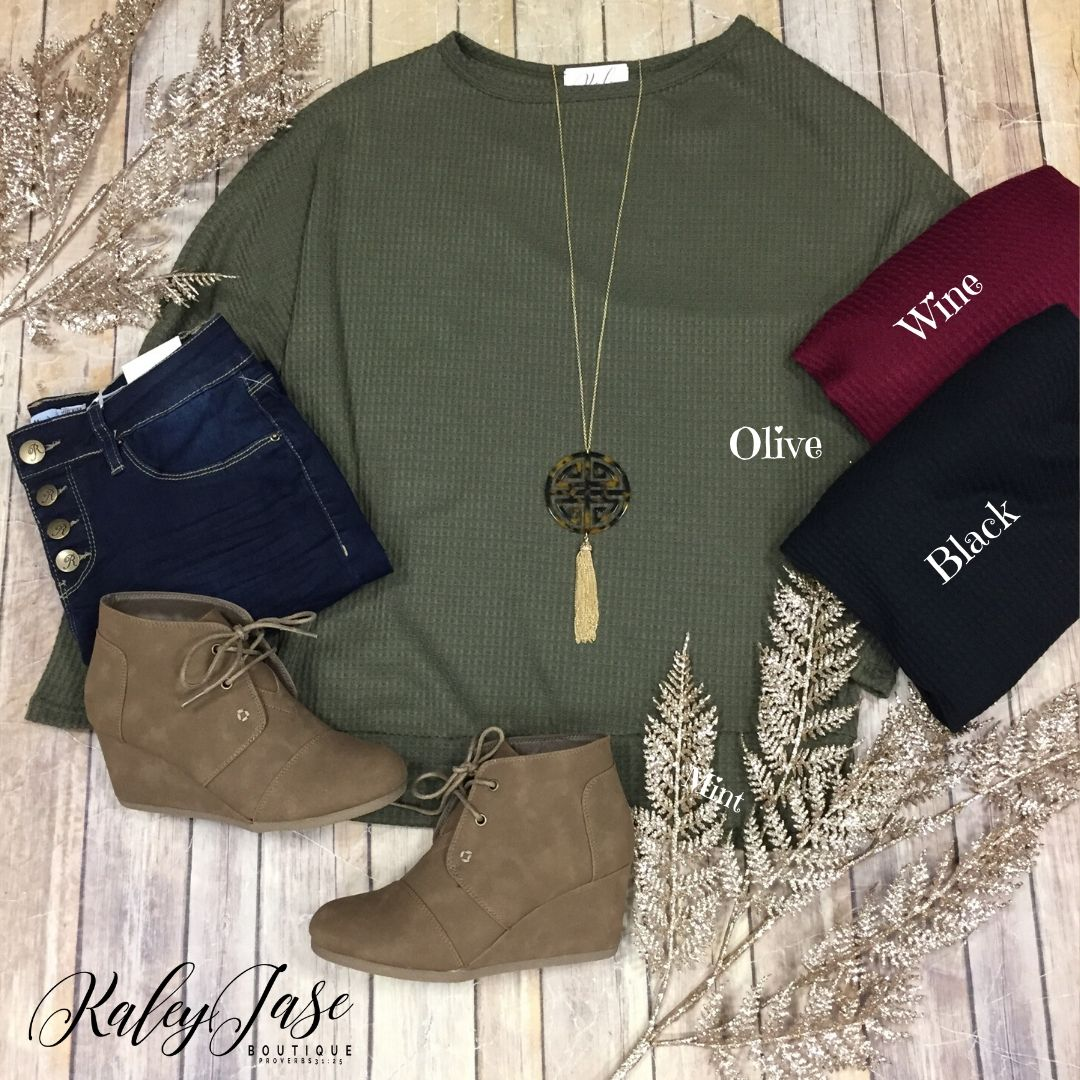 Waffle Slouchy Top