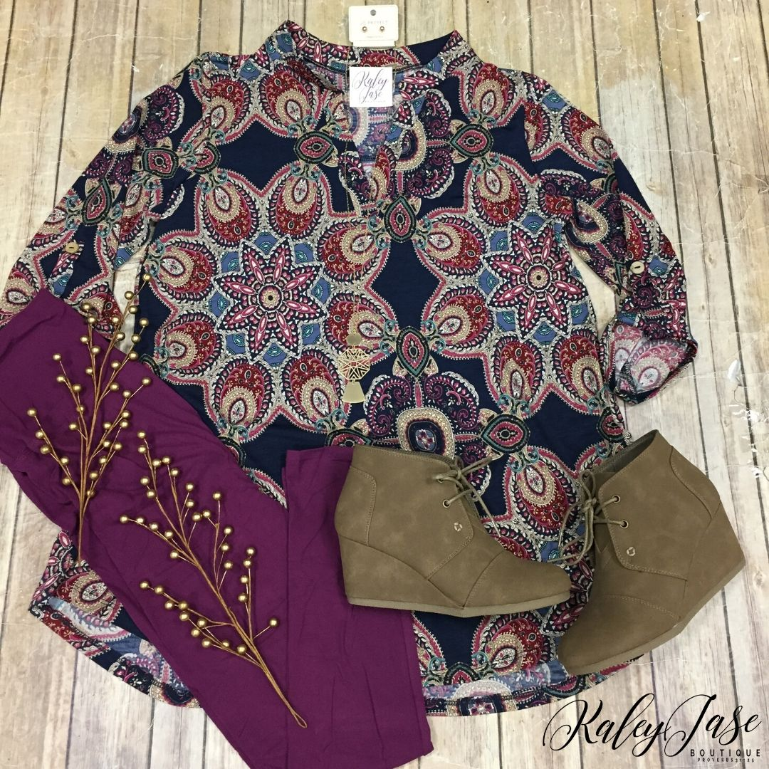 Navy Burgundy Star Burst Fall Vera Top