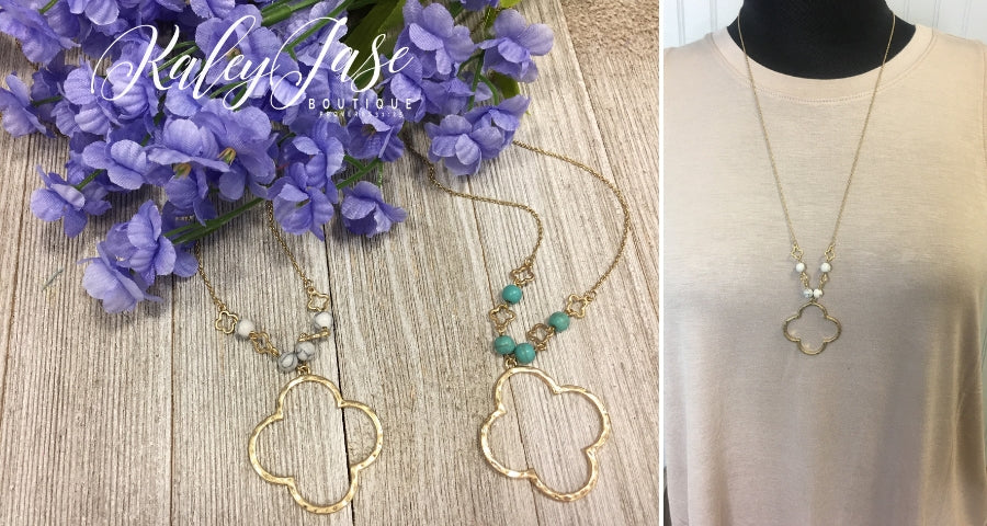 Gold Beaded Clover Necklace