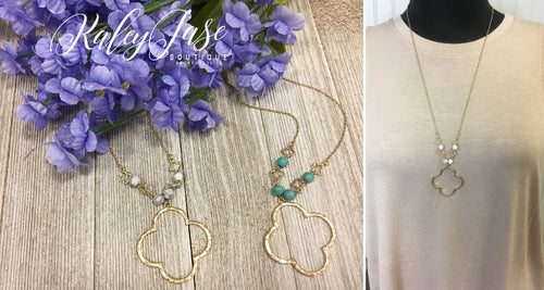 Gold Beaded Clover Necklace #8