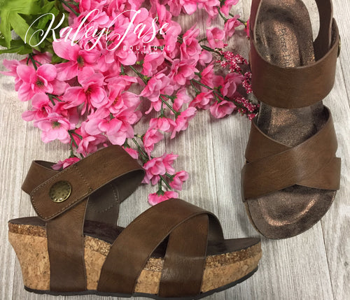 Dark Tan Button Wedges