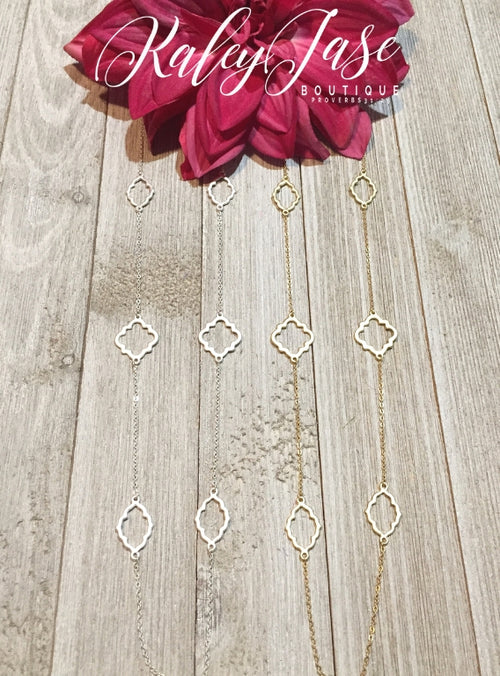 Quatrefoil Metal Station Long Necklace #13