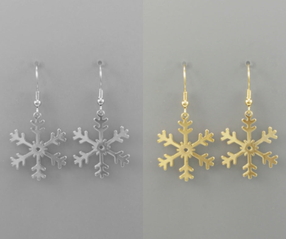 18 Karat Gold Dipped Snowflake Earrings