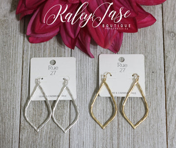 Hammered Pointy Drop Earrings -B5
