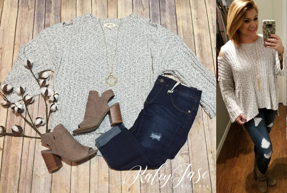Heather Grey Open Shoulder Sweater