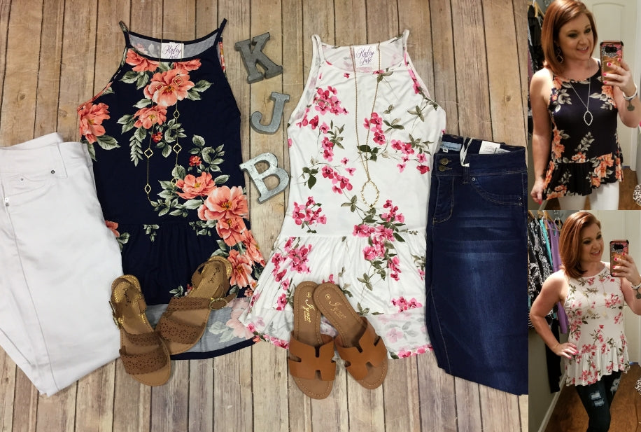 Floral Ruffle Bottom Tank Top