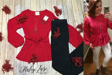 Red Dressy Tie Front Top