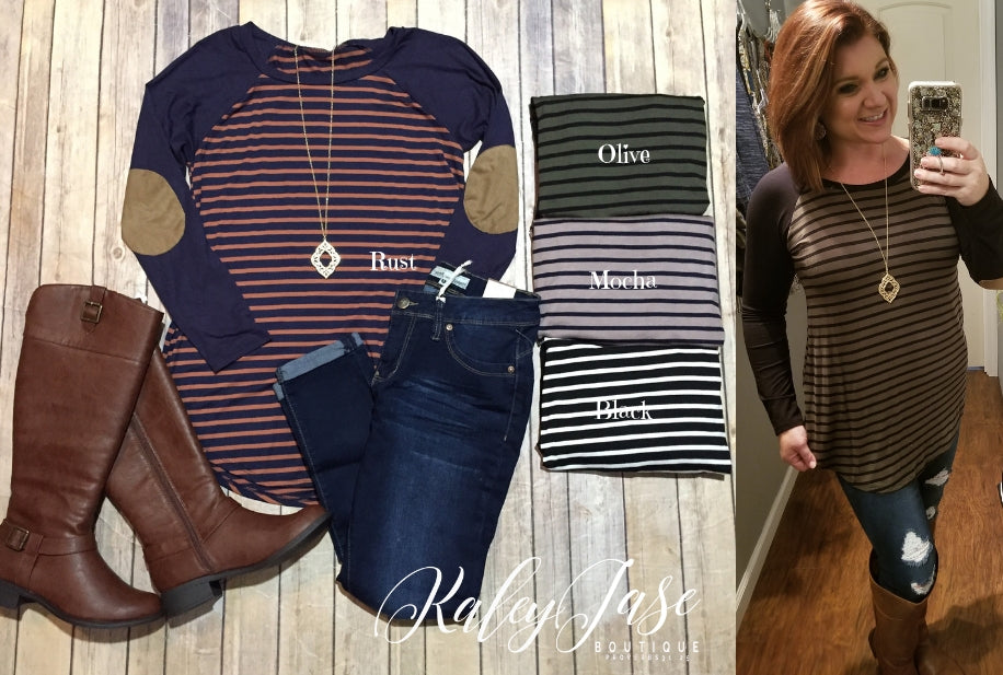 Raglan Stripe Patch Sleeve Top