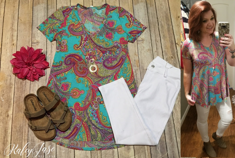 HM Teal Bright Paisley Dressy Top
