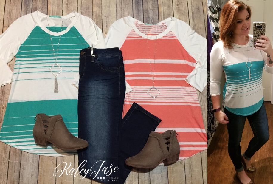 Deal of the Day Mint/Coral Stripe Raglan Top