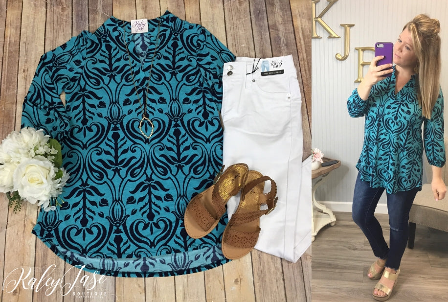 HM Teal Damask Top (Regular & Plus)