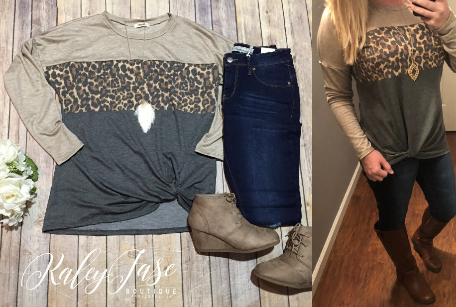 Leopard Colorblock Twist Top