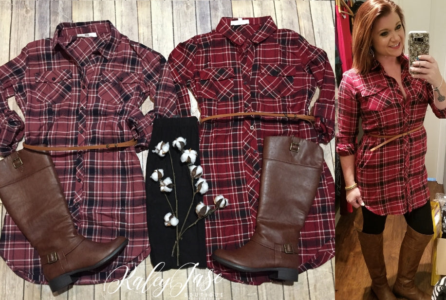 Plaid Belted Tunic