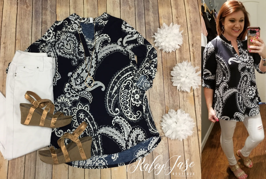 HM Navy & White Paisley Gabby Top (Regular & Plus)