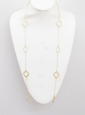 Quatrefoil Metal Station Long Necklace