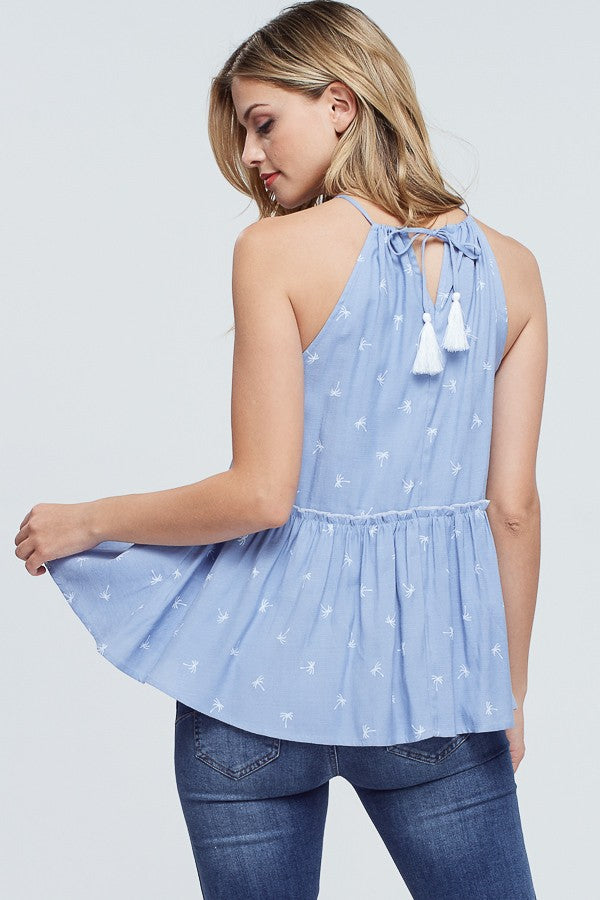 Chambray Palm Tree Ruffle Tank