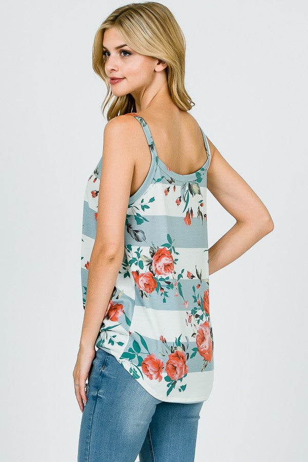 Floral Stripe Tank Top