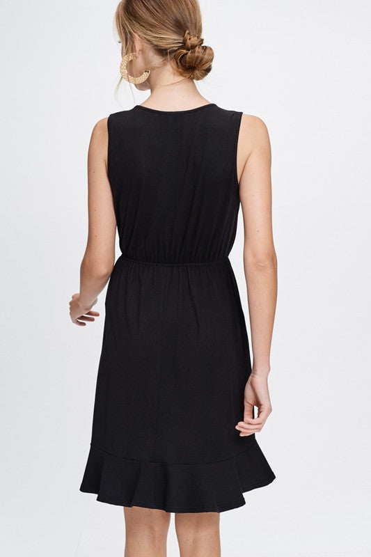 Black Ruffle Vneck Dress